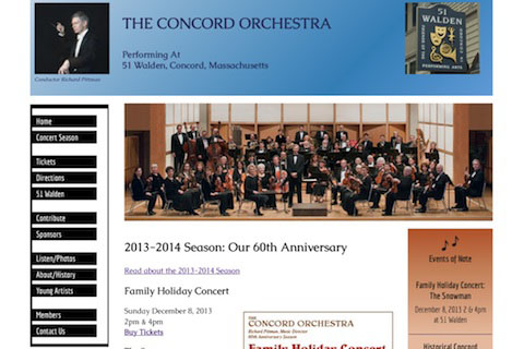 Website for a community orchestra