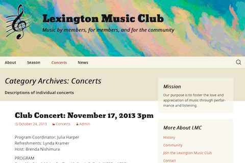 Wordpress website for a music club